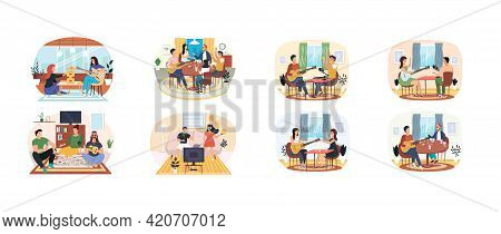 Set Of Illustrations People Have Fun Watching Tv, Playing Board Games And Listening To Guitar Music.