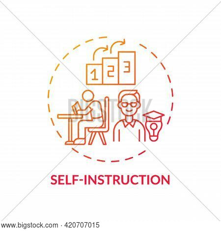 Self Instruction Red Gradient Concept Icon. Personal Management For Work Productivity. Skill Improve