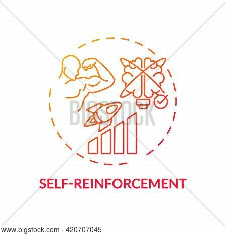 Self Reinforcement Red Gradient Concept Icon. Personal Motivation For Work Efficiency. Skill Improve