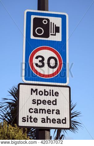 Weston-super-mare, Uk - February 18, 2021: Signs Warning Of The Presence Of Mobile Speed Cameras In
