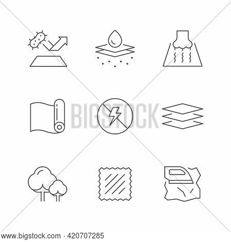 Set Line Icons Of Fabric Isolated On White