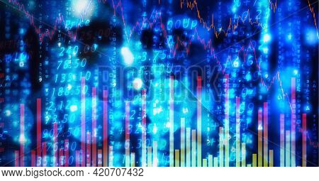 Composition of financial data processing on blue glowing background. global business, finance and technology concept digitally generated image.