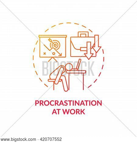 Procrastination At Work Red Gradient Concept Icon. Burnout Symptom. Overworked Manager At Workplace.