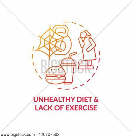 Unhealthy Diet And Lack Of Exercise Red Gradient Concept Icon. Issue With Personal Regulation. Self
