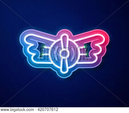 Glowing Neon Line Aviation Emblem Icon Isolated On Blue Background. Military And Civil Aviation Icon
