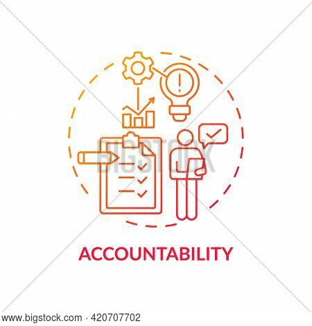 Accountability Red Gradient Concept Icon. Self Regulation. Personal Responsibility. Work Management.