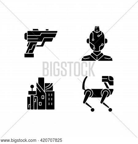 Cyberpunk Items Black Glyph Icons Set On White Space. Laser Gun. Face Microcircuit. Cyberpunk City.