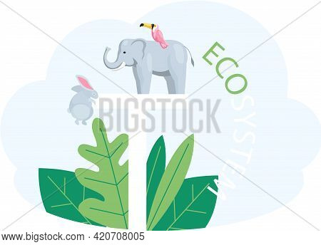 Eco Friendly, Save Environment, Nature Conservation. Animals And Bird Near Inscription Eco System On
