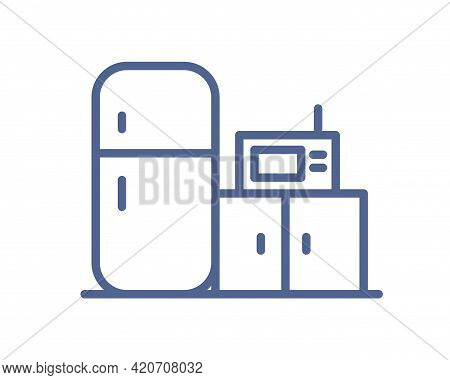 Home Kitchen Icon With Microwave, Fridge And Cabinet In Line Art Style. Lineart Symbol Of Cooking Ar
