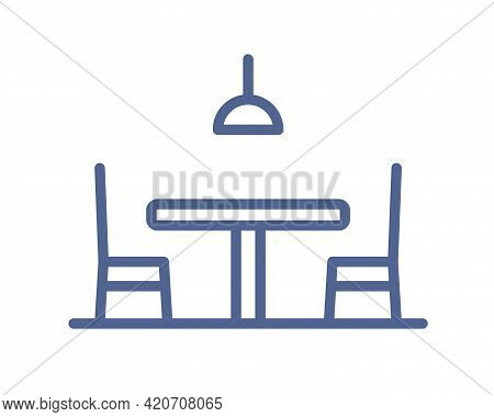Outlined Empty Dining Table, Chair And Lamp Icon In Line Art Style. Restaurant Or Cafe Furniture Wit