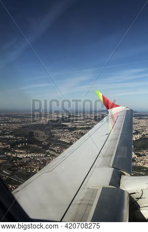Lisbon, Portugal- March 11, 2020: Aerial View Of Lisbon Landscape From A Plane Of The Company Tap In