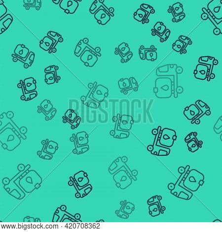 Black Line Fuel Tanker Truck Icon Isolated Seamless Pattern On Green Background. Gasoline Tanker. Ve