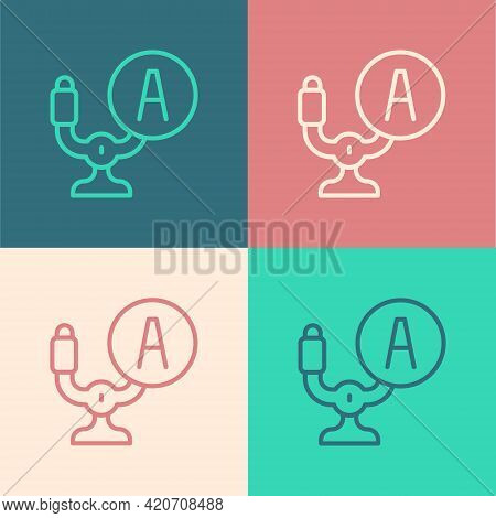 Pop Art Line Aircraft Steering Helm Icon Isolated On Color Background. Aircraft Control Wheel. Vecto