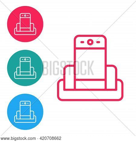 Red Line Metal Detector In Airport Icon Isolated On White Background. Airport Security Guard On Meta