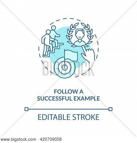Follow Successful Example Blue Concept Icon. Sharing Experience. Personal Brand Building. Learning F