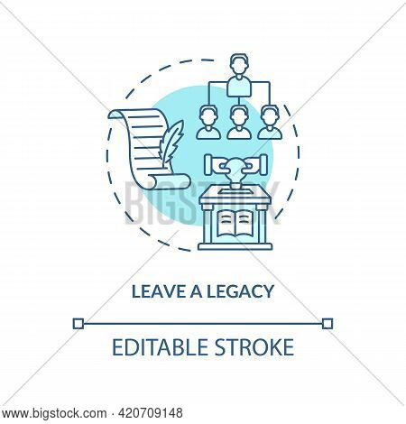 Leave A Legacy Blue Concept Icon. Successful Leader. Positive Impact And Influence. Company Successi