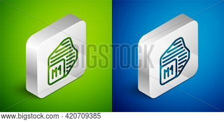Isometric Line Processor Icon Isolated On Green And Blue Background. Cpu, Central Processing Unit, M