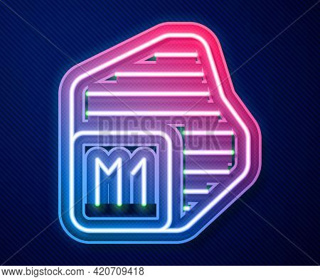 Glowing Neon Line Processor Icon Isolated On Blue Background. Cpu, Central Processing Unit, Microchi