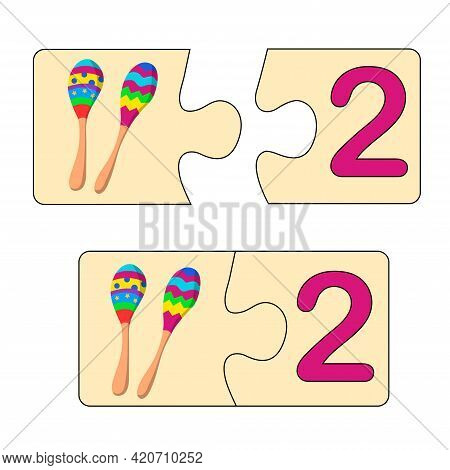 Educational Game For Kids. Find Right Picture For Number. Puzzle With Number Two And Maracas. Puzzle
