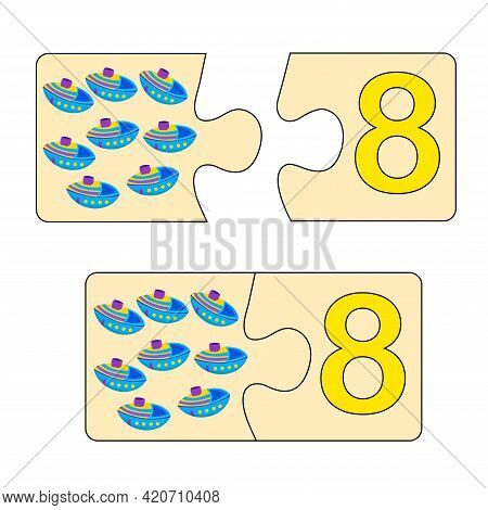 Educational Game For Kids. Find Right Picture For Number. Puzzle With Number Eight And Toys Ships. P