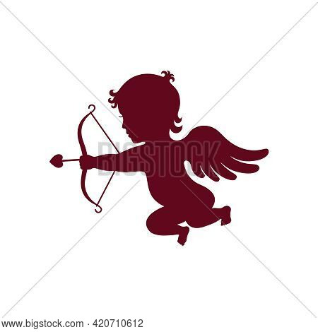 Cupid Graphic Icon. Cupid With Bow And Arrow Sign Isolated On White Background. Love Symbol. Vector
