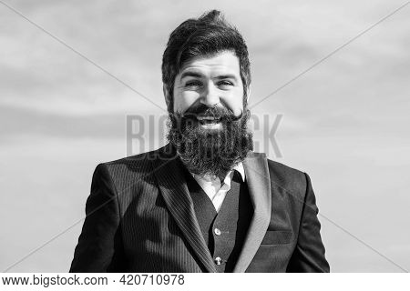 Future Success. Male Formal Fashion. Brutal Caucasian Hipster With Moustache. Mature Hipster With Be