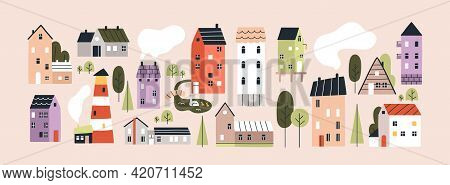 Set Of Isolated Cute Tiny Houses, Small Buildings And Trees In Scandinavian Style. Trendy Urban And