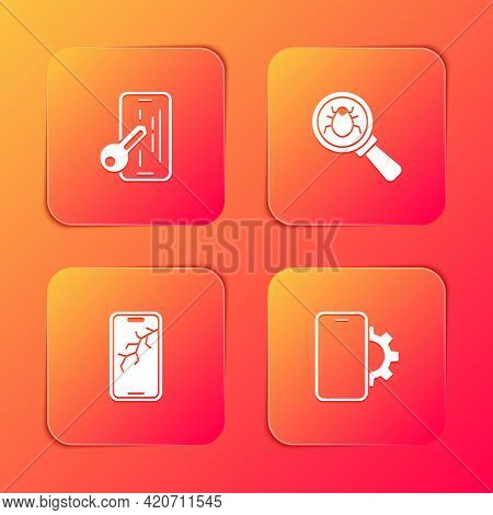 Set Glass Screen Protector, System Bug, Mobile With Broken And Phone Repair Service Icon. Vector