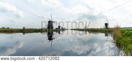 Panorama View Of Historic 18-century Windmills At Kinderdijk In South Holland