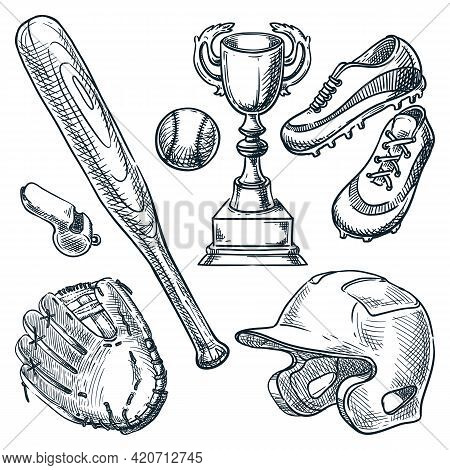 Baseball Sports Equipment. Vector Hand Drawn Sketch Illustration. Ball, Glove, Baseball Bat, Helmet