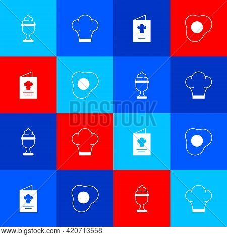 Set Ice Cream In Bowl, Chef Hat, Cookbook And Scrambled Eggs Icon. Vector