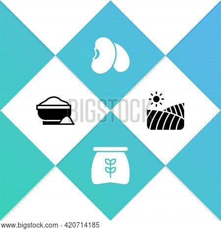 Set Flour Bowl, Bag Of Flour, Beans And Agriculture Wheat Field Icon. Vector