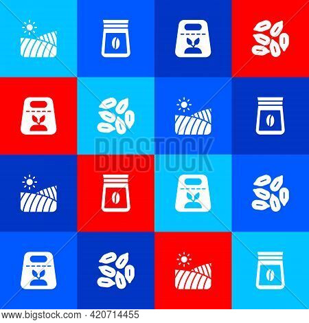 Set Agriculture Wheat Field, Bag Of Coffee Beans, Pack Full Seeds Plant And Seed Icon. Vector