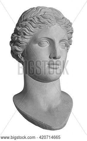 Ancient white marble sculpture head of young woman. Statue of sensual renaissance art era woman antique style. Face isolated on white background