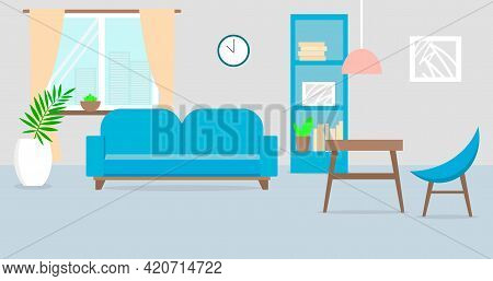 Beautifful Blue Living Room. No People. Flat Vector Iilustration