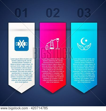 Set No Sweets, Oil Pump Or Pump Jack And Star And Crescent. Business Infographic Template. Vector