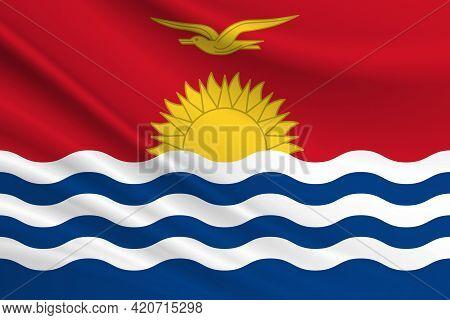 Flag Of Kiribati Fabric Texture Of The Flag Of Kiribati.