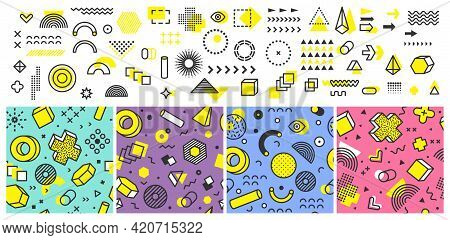 Memphis Collection. Abstract Geometric Shapes, Design Kit. Decorative Seamless Patterns And Vector M