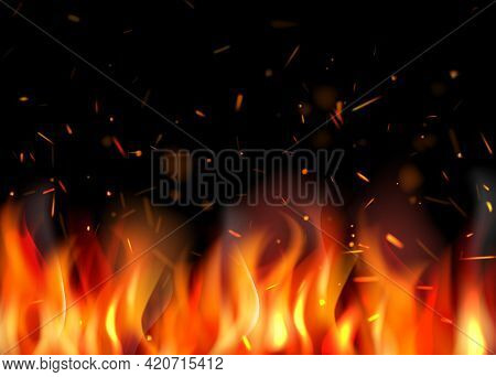 Fire Background. Burning Flame Particles Different Glowing Sparks Decent Vector Illustrations Fire P