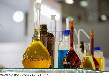 Moscow, Russia - 14 April 2021 : Laboratory Research Scientific Glassware For The Field Of Analytica
