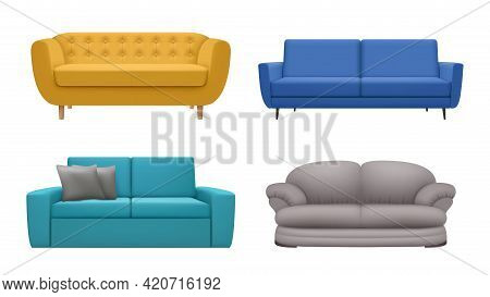 Sofa Realistic. Modern Furniture For Relax Time In Interior Living Lounge Room Simple Comfortable Li