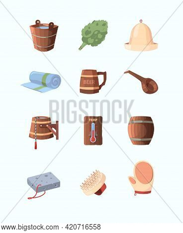 Russian Sauna. Objects For Bathing And Relaxing Broom Hat Spa Items Garish Vector Wooden Sauna In Ca
