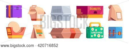 Lunch Boxes. Food Cardboard Containers Plastic Packs Fastfood Garish Vector Pictures Set Isolated