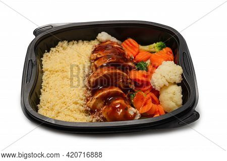 Ready Food In A Container. Stewed Chicken In Teriyaki Sauce, Stewed Carrot, Cabbage And Porridge. Is