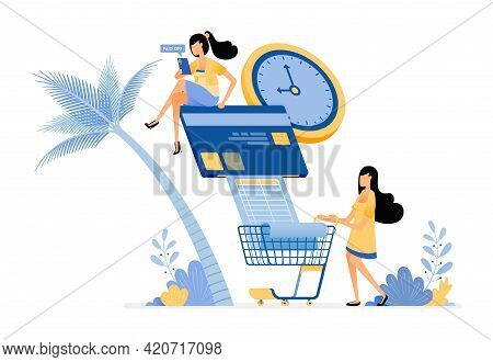 People Pay Their Credit Card Bills And Monthly Grocery Bills On Time.  Vector Design Illustration Ca