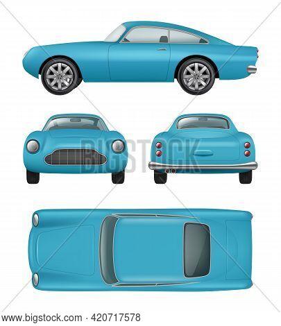 Retro Car. Realistic Vintage Automobile Front Right Left Back Side Views Luxury Details Decent Vecto