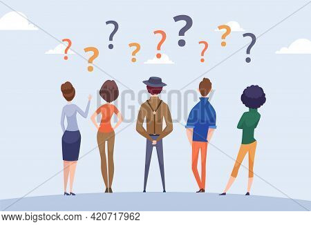 People Group Doubt. Person Thinking, Question Concept. Business Team Looking Idea, Searching Perspec