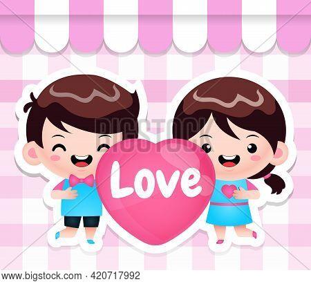 Illustration Vector Graphic Of Cartoon Cute Chibi Kids Holding Heart Perfect For Mascot, Children Bo