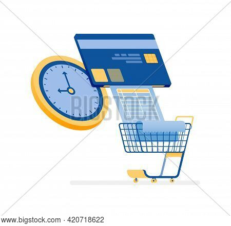 Icon Design Of Pay Credit Card Bills And Monthly Grocery Bills On Time. This Icon Can Be Used For Ma