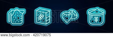 Set Line Measuring Cup, Flour Pack, Seed And Bag Of Flour. Glowing Neon Icon. Vector
